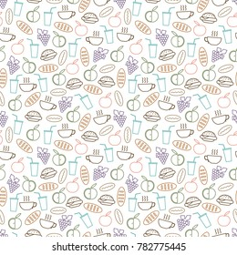 Food and drinks seamless pattern design - seamless texture with burger, drinks, bread and fruits line icons. Background breakfast illustration