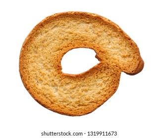 Food and drinks: single roasted bagel, isolated on white background