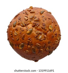 Food and drinks: single round multigrain bun with whole seeds, isolated on white background
