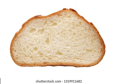 Food and drinks: single slice of fresh white wheat bread, isolated on white background