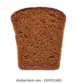 Food and drinks: single slice of fresh dark rye bread, isolated on white background