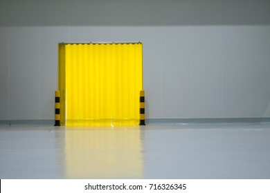 food factory door on epoxy floor in warehouse