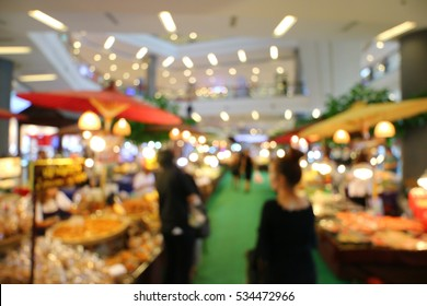 Food fair expo market in Shopping mall, abstract blur background