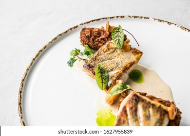 food fish dish elegant chef lunch fillet eat black background plate table gourmet elegant exclusive salmon modern sauce