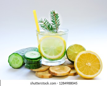 Food for fitness, healthy lifestyle frame flat lay with cucumber and lemon. With space for your text.Infused detox water with cucumber, lemon. cucumber and lemon water.Slimming and excretion of slag.