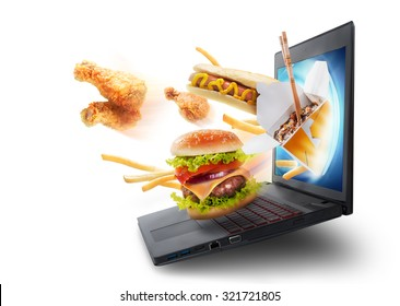 Food flying out of a laptop screen