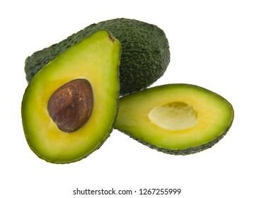 food with fresh organic avocado isolated on white background