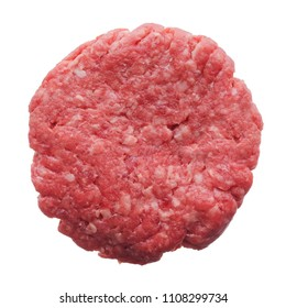 Food: fresh uncooked homemade burger, isolated on white background