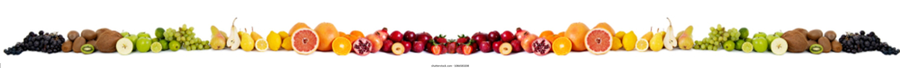 Food fruit banner isolated on white