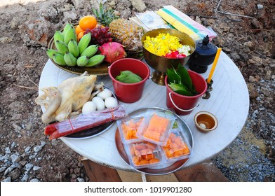 Food and fruits for groundbreaking ceremony