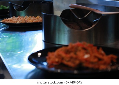 food with gas stove kitchen room