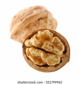 Food: group of walnuts, isolated on white background