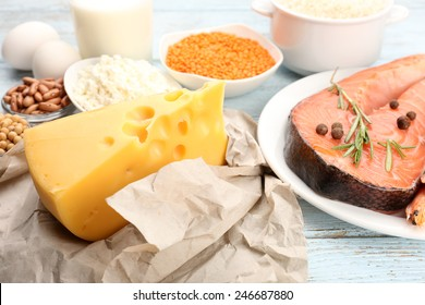 Food high in protein on table, close-up