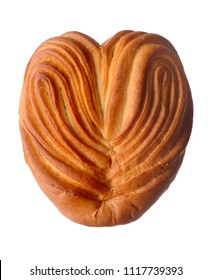 Food: homemade heart-shaped sweet bun, isolated on white background