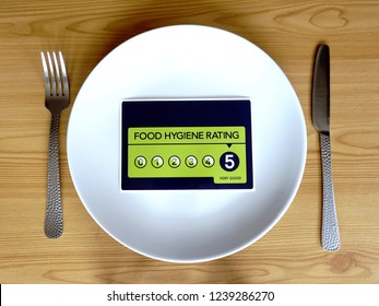 Food Hygiene Rating 5. Dinner plate with VERY GOOD food hygiene rating instead of food