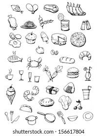 Food icons hand drawn illustration