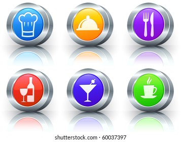 Food Icons on Reflective Button with Metallic Rim Collection Original Illustration