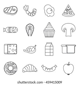 Food icons set in outline style isolated  illustration