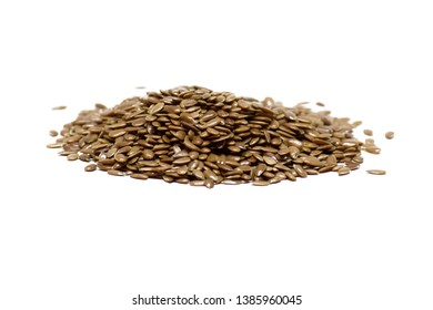 Food ingredient, brown flax seed isolated on white