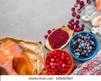 Food ingredients containing astaxanthin, antioxidant, zinc. The concept of a healthy diet.