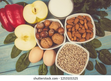 Food ingredients containing vitamin E. Concept of a healthy diet.