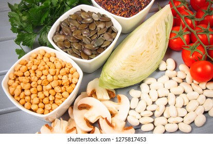 Food ingredients containing zinc. The concept of a healthy diet.