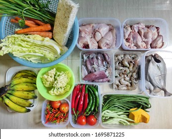 Food ingredients in the form of vegetables, fish and chicken meat for supplies. Recipes While We Cook at Home
