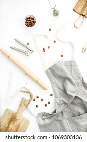 Food ingredients in kitchen on white background. Cooking concept. Flat lay, top view.