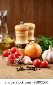 Food ingredients on the oak table closeup shot