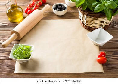 Food ingredients on the table, copy space
