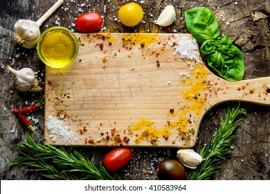 Food ingredients on wooden background with copy space