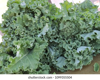 Food: large bunch of Kale leaves at farmers market.