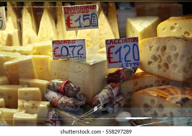 FOOD MARKET, CATANIA, SOUTHERN SICILY/ITALY - SEPTEMBER 29th 2009 - Cheeses and salami at a delicatessen in Catania, Southern Sicily, Italy.