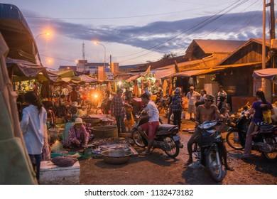 the food market in the city of Preah Vihear city of Cambodia.  Cambodia, Kampong Thom, November, 2017,