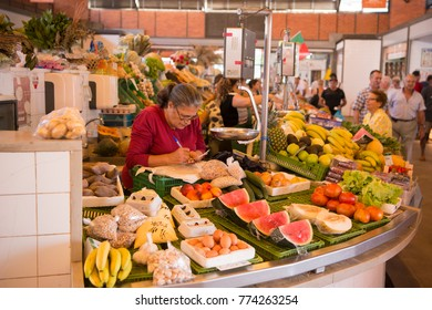 the Food Market in the Market Hall  the Old Town of Olhao at the east Algarve in the south of Portugal in Europe. Portugal, Algarve, October, 2016,