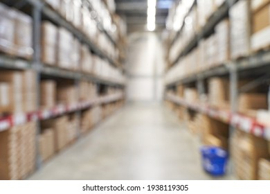 Food market interior. Blur corridor light background. Shop shelf. Stock cold goods. Refrigerator storage. Perspective grocery hall. Supermarket wallpaper. Copyspace. Milk product
