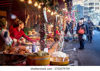 Food market at Timisoara, Romania, december 2016