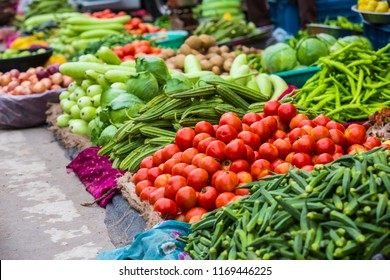 Food market with various colorful fresh vegetables. delicious cooking