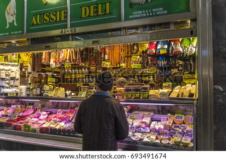 FOOD MARKETS, MELBOURNE, VICTORIA, AUSTRALIA-3rd SEPT 2016:-Melbourne is renowned for its victorian era markets, selling many and varied foods.