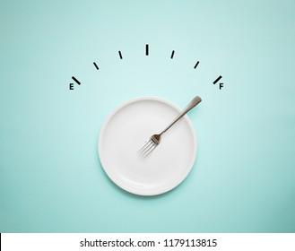 food meal with alert meter, full energy
