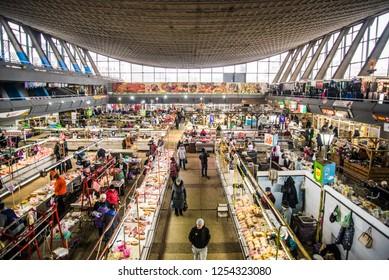 Food and meat market in Kiev, Ukraine December 9, 2018