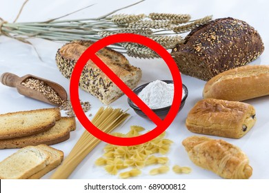food non gluten free, with cerales grains on white with interdiction symbols