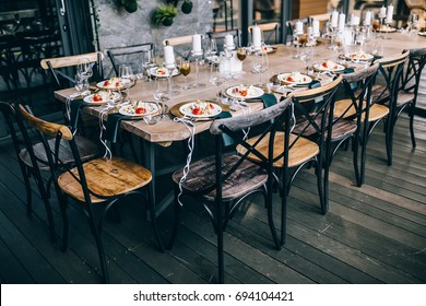 Food on the buffet table, wedding mood, wedding in the open air