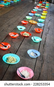 Food on the floor for children in asian school