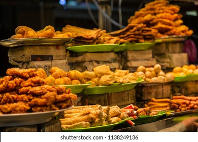 Food on offer at night market in Georgetown Penang Malaysia