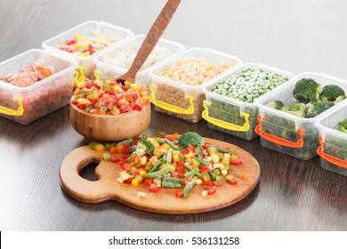 Food packaging ingredients, healthy frozen vegetables, cooking from freezer container.
