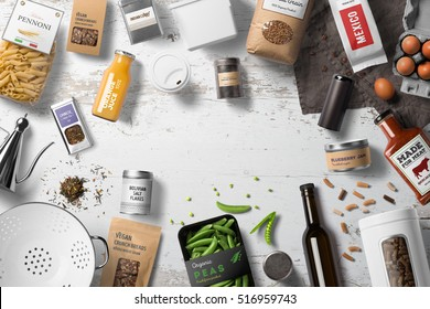 Food packaging set, bottles, cans, jars, pachages, bags on a white table,  top view with copy space