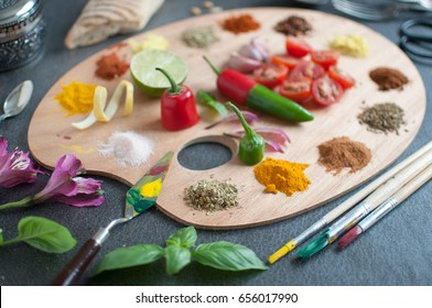 Food palette with fresh herbs and spices