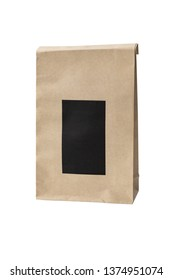 food paper bag on isolated white background with clipping path
