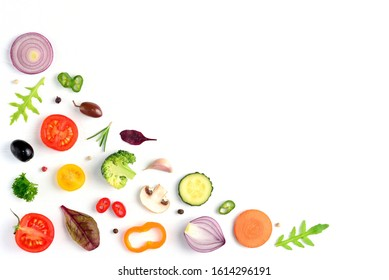 Food pattern with raw fresh ingredients of salad - tomato, cucumber, onion, herbs. Vegetables isolated on white background. Healthy eating concept. Flat lay, top view.